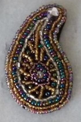 Hand beaded paisley pendant