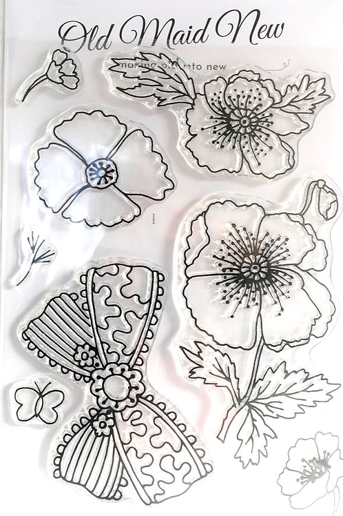Poppies and Bow Stamp