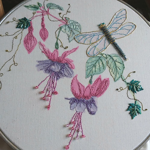 Fuchsias and Dragonfly
