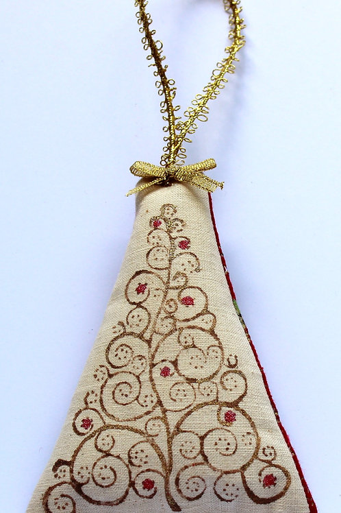 Block printed Christmas Decoration