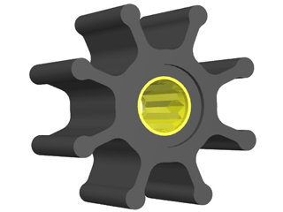 2305 - ROTOR B.DÁGUA 65-37mm EIXO16,0mm 08 ALH  MERCRUISER 2.8 QSD (ESTRIADO)
