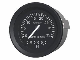 1633 - INDICADOR CONTAGIROS 3500RPM TUR-PR(ALT) 85mm 12/24V C/HORÍM