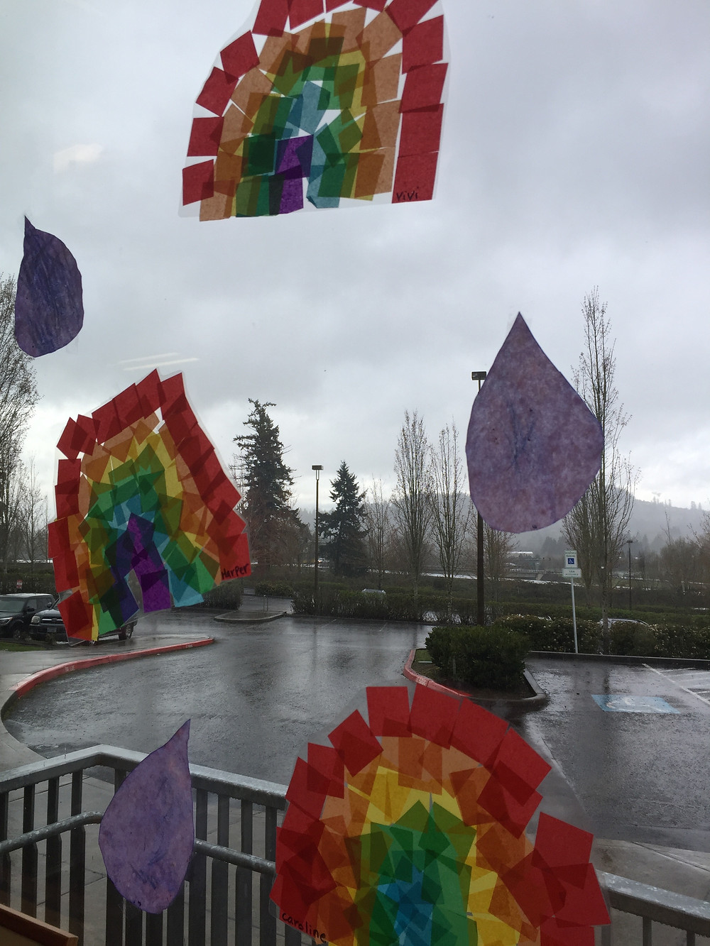 Tissue Paper Rainbows preserved with laminator.