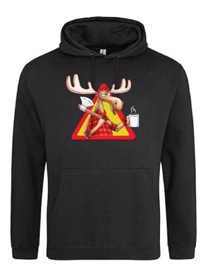 """Hoodie """"Rolf the moose"""" Svart"""