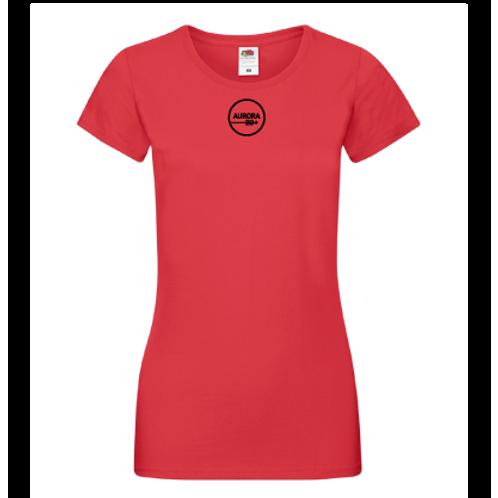 Röd T-shirt dam med tryck