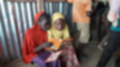 Girls reading our books in an IDP Camp in Nigeria