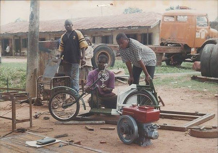 building a trycycle for Shadrack Abu