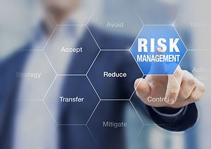 Businessman pointing at risk management