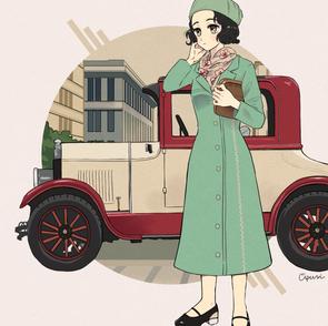 女性と車2