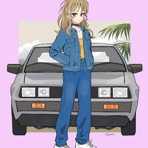女性と車1