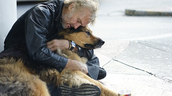 Homeless man and dog on street 2