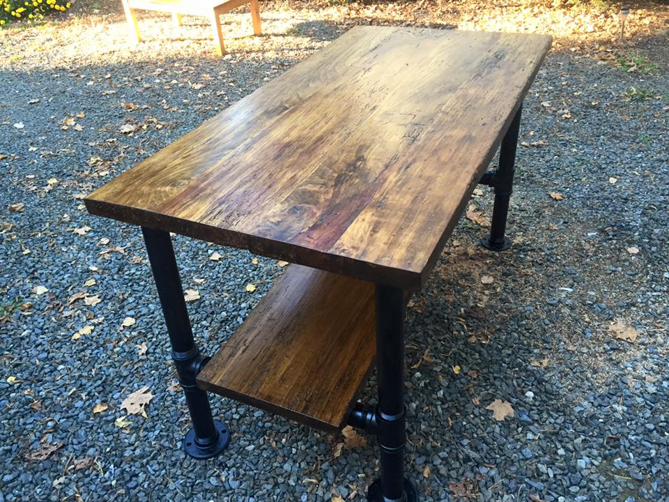 Reclaimed floorboards table