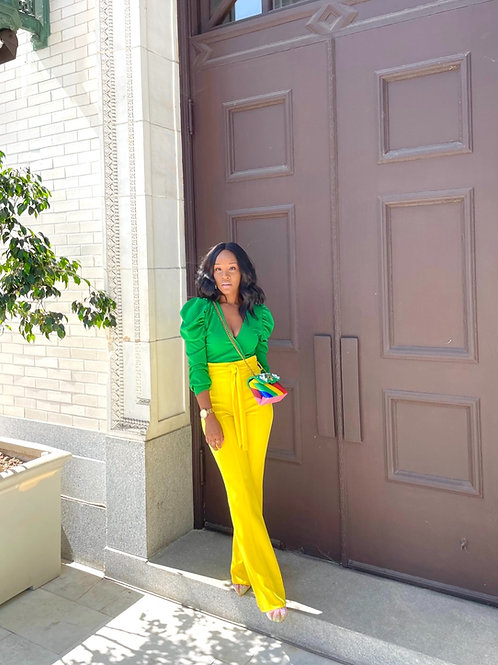 Yellow High Waist Pants