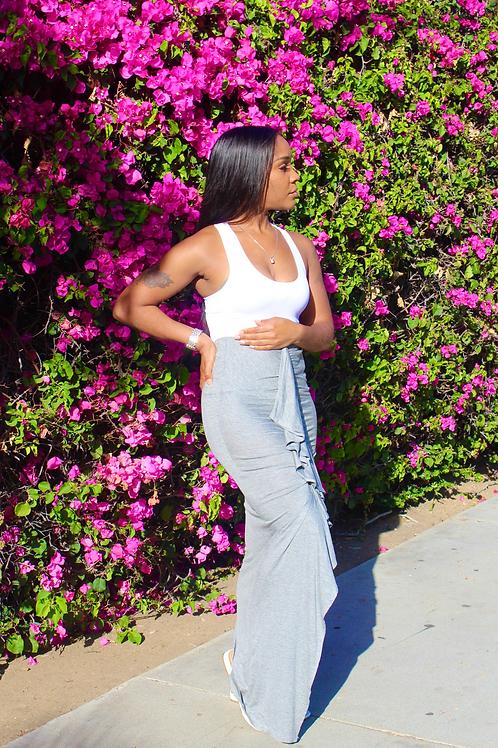 Grey Stretch Ruffle Skirt