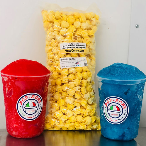 Variety Pack (2 Quarts) of Italian Shaved Ice & a bag of Popcorn