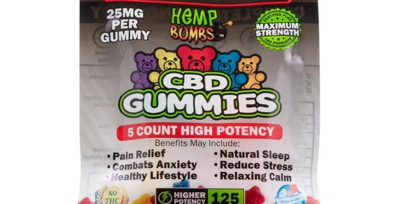 CBD High Potency Gummies 5-count (125MG)