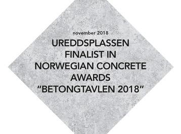 """UREDDPLASSEN FINALIST IN NORWEGIAN CONCRETE AWARDS """"BETONGTAVLEN 2018"""""""