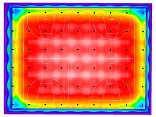 Basketball indoor sports lighing false colour render Dialux