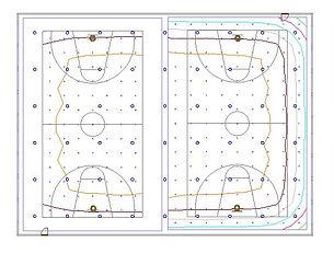 Basketball indoor sports lighing illuminance contours Dialux