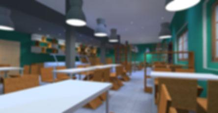 Coffee shop Lighting Dialux Evo render
