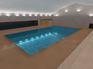 Swimming pool lighting leisure centre Dialux render