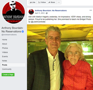 Anthony Bourdain and Marilyn Hagerty at book signing