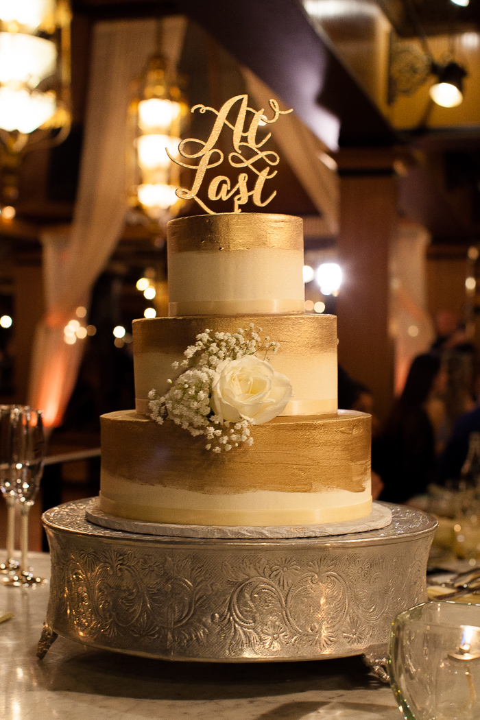 Three Tiered Gold Paint Cake