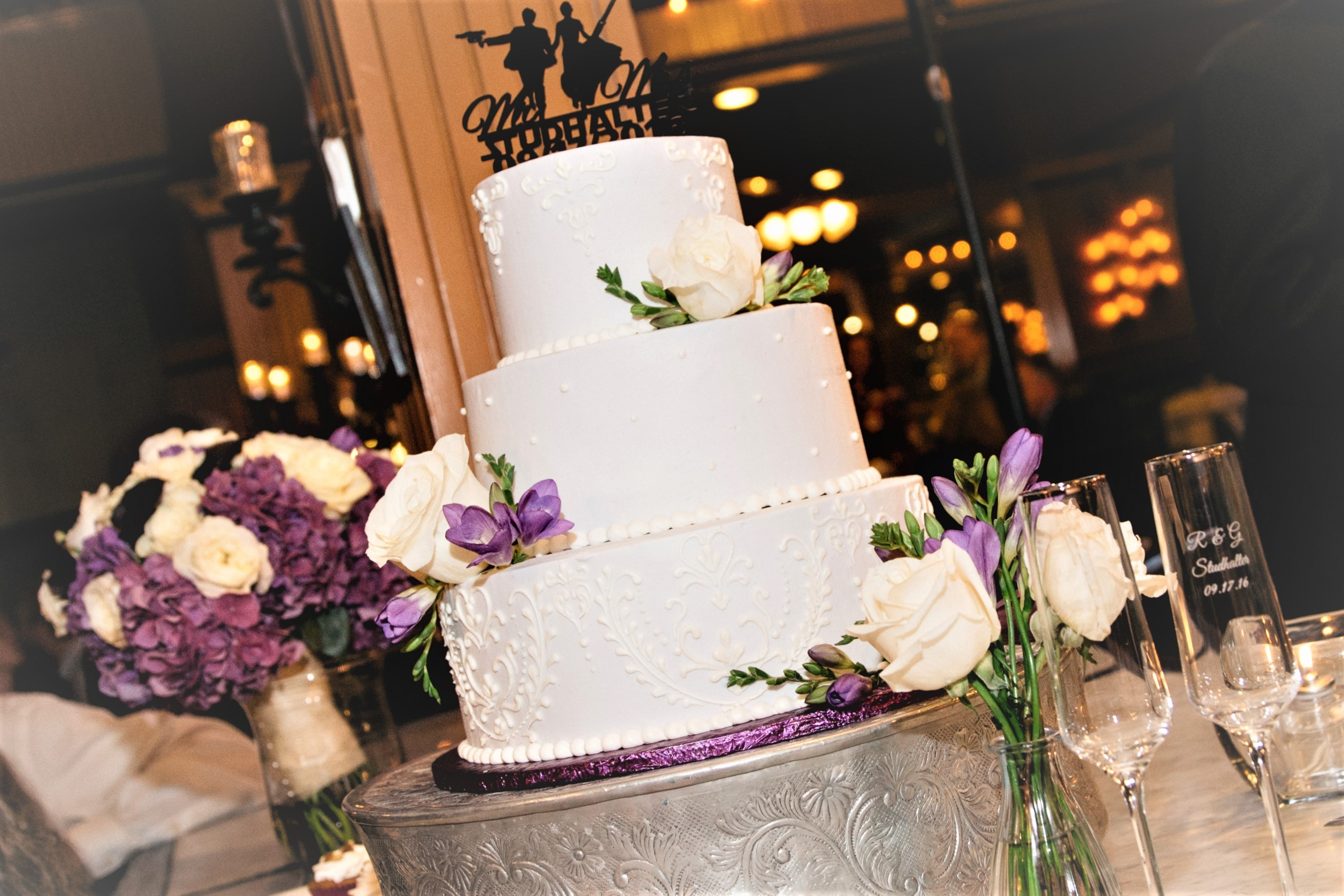 Three Tiered Lavender and White Cake