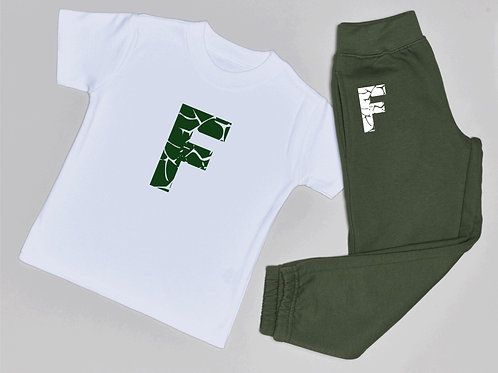 Cracked Initial Jogger and T-shirt set