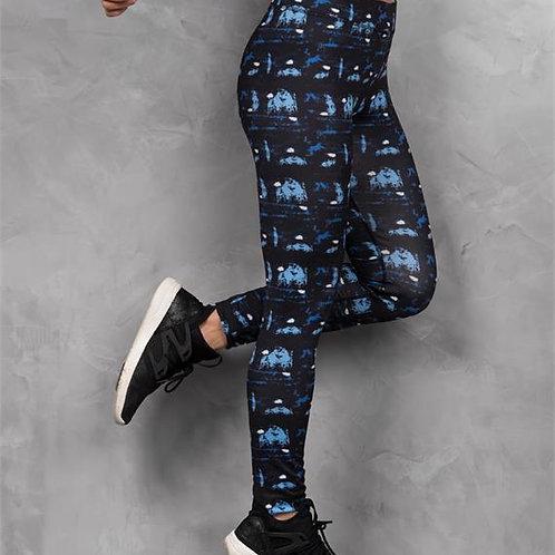Ladies Blue Abstract Leggings