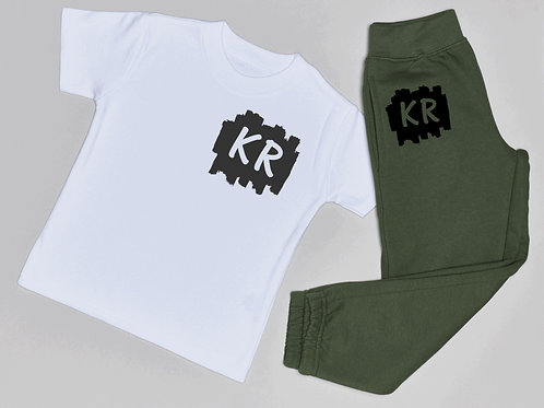 Brush Initial Jogger and T-Shirt Set