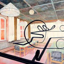 2021 Acryl, Öl, Airbrush und Tusche auf Holz 100 x 125 cm  Verkauft