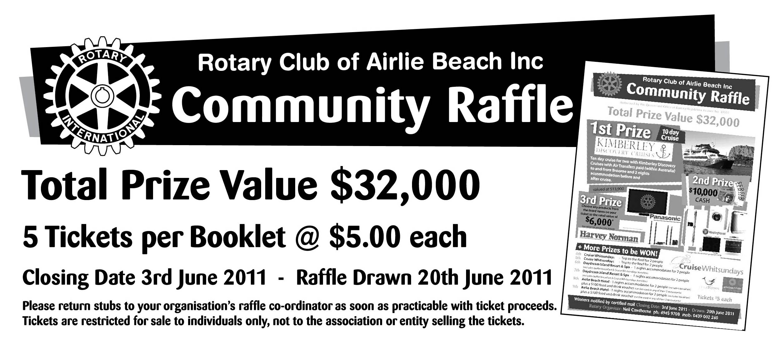(2) 2011 ROTARY raffle cover