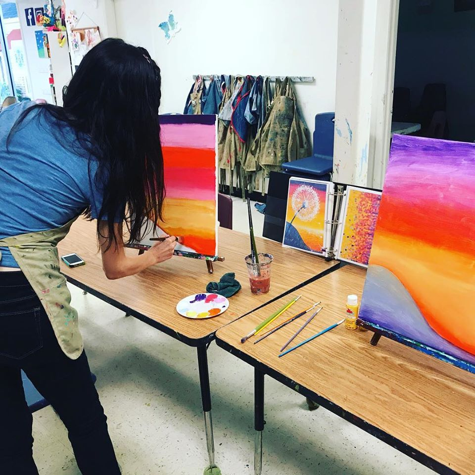 Adults painting during Open Studio