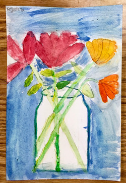 Watercolor Still-Life of Flowers