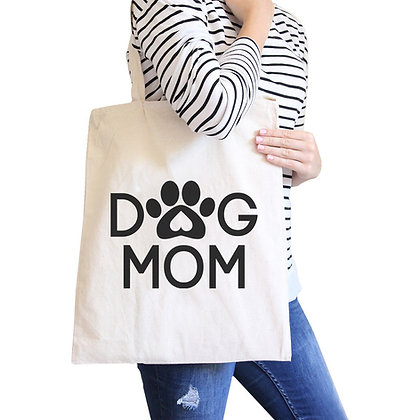 Dog Mom Natural Cute Canvas Shoulder Bag Cute Design for Dog Owners