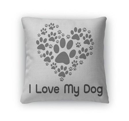Throw Pillow, I Love Dog Symbol and Cute Dog