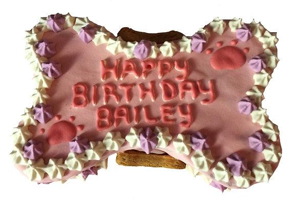 4 Inch Birthday Dog Bone Cake