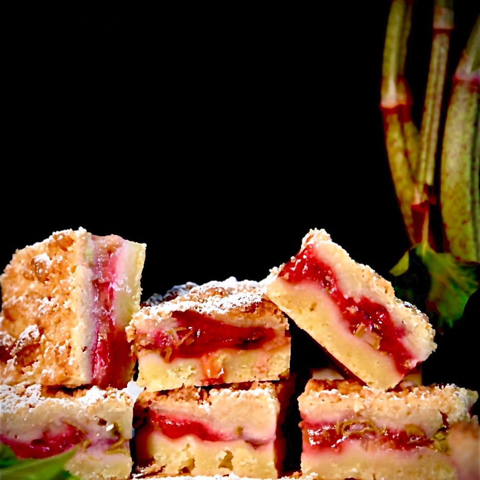 Knotweed, Strawberry, and Rhubarb Crumble Bars
