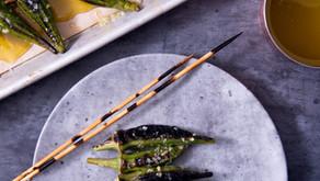 Grilled Okra  w/ Garlic Vinaigrette