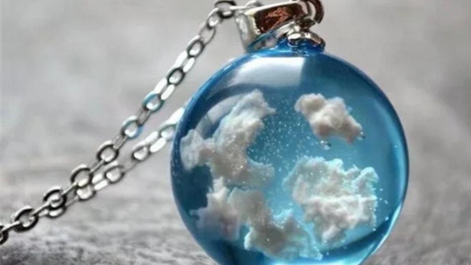 Blue sky resin necklace