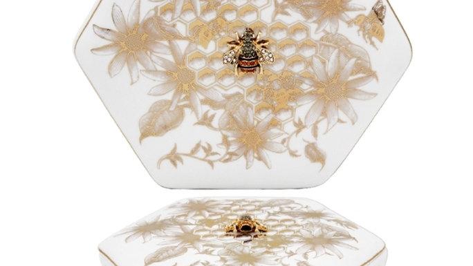 Honeycomb Bee Trinket Box