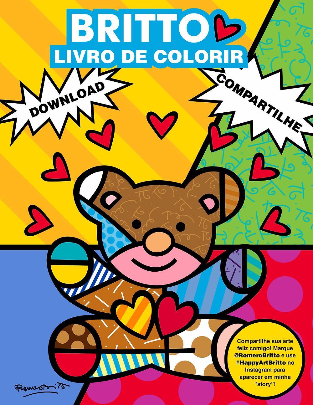 Livro de colorir gratúito de Romero Britto