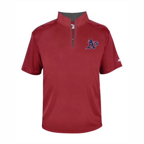 Badger - RED - YOUTH B-Core Quarter-Zip T-Shirt  - A's EMB2