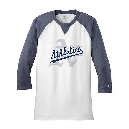 NEW Era® - NAVY- 3/4-Sleeve Baseball Raglan Tee - A's D1