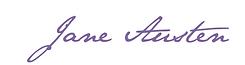 Jane Austen, signature, écriture, france