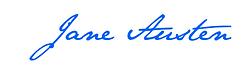 jane austen, signature, france, écriture