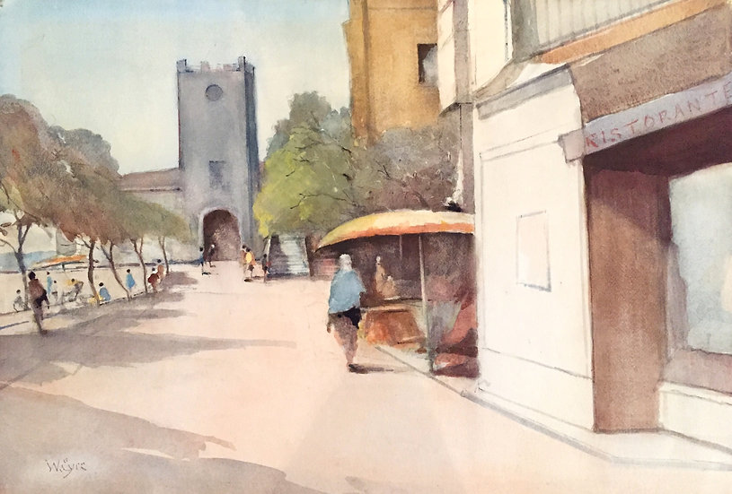 """""""Piazza S.Agostno. Taormina"""" (1975) by William Eyre (1891-1979)"""