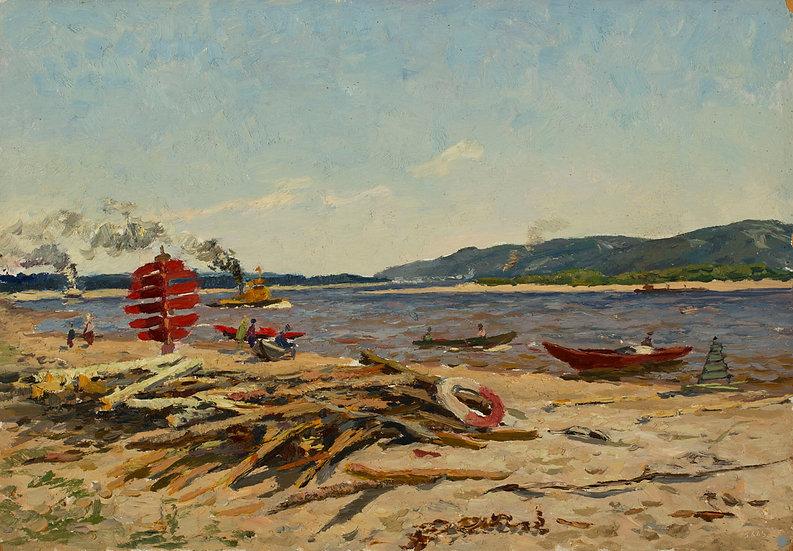 """Driftwood on the Beach"" (1963) by Mikhail Alekessevih  Nazarov (born.1927)"