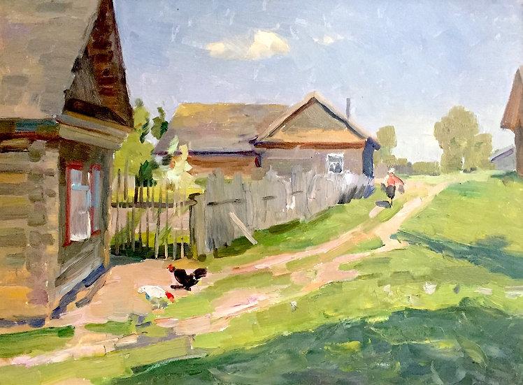 """The Village Street"" (1956) by Mikhail Aleksandrovich Kamanin (1932-1992)"